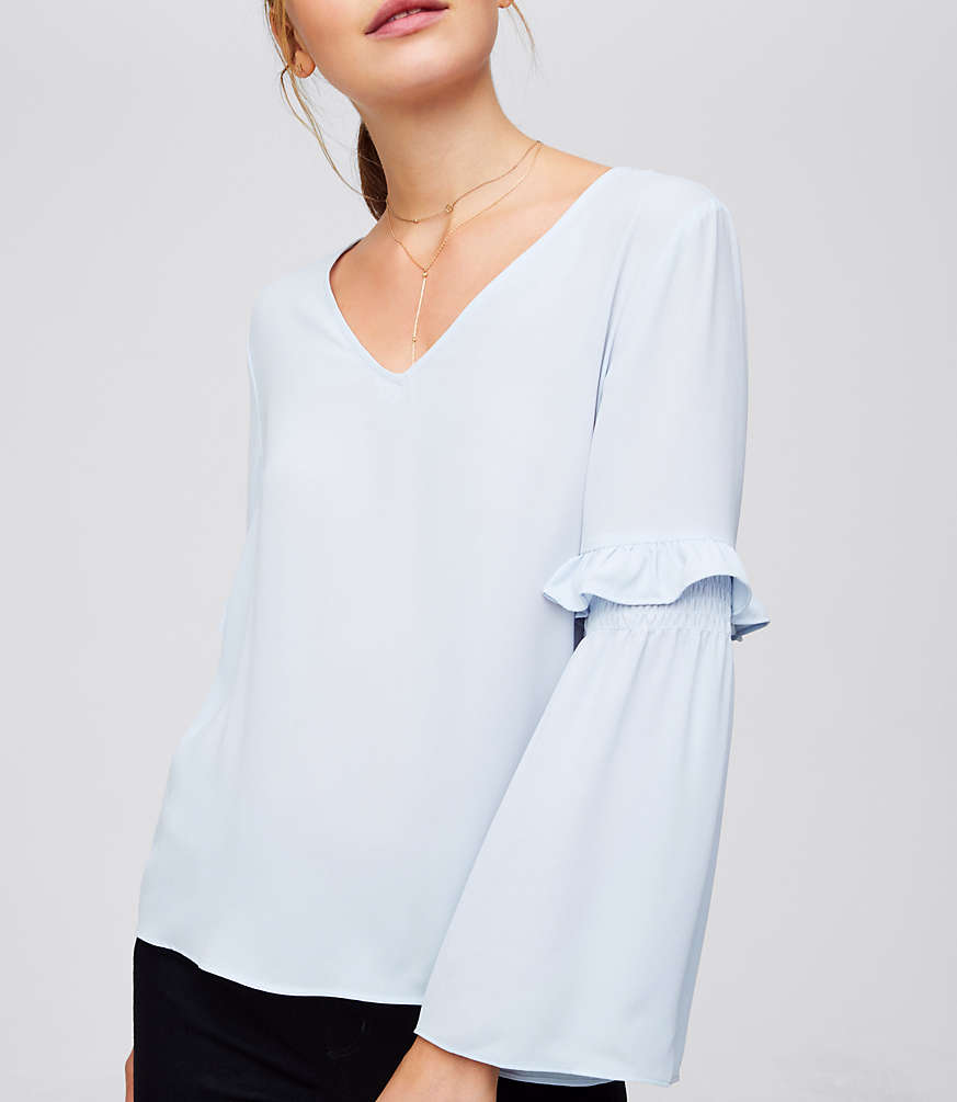 Petite Ruffle Bell Sleeve Blouse
