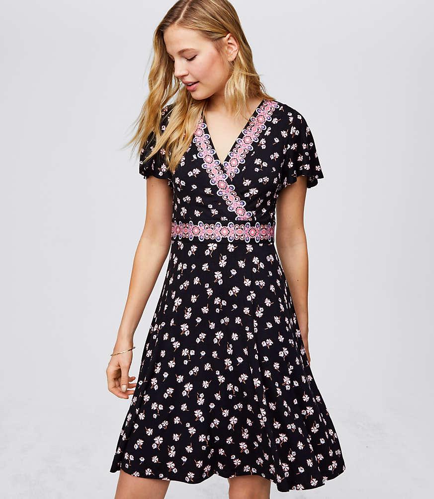 Border Floral Wrap Dress | LOFT