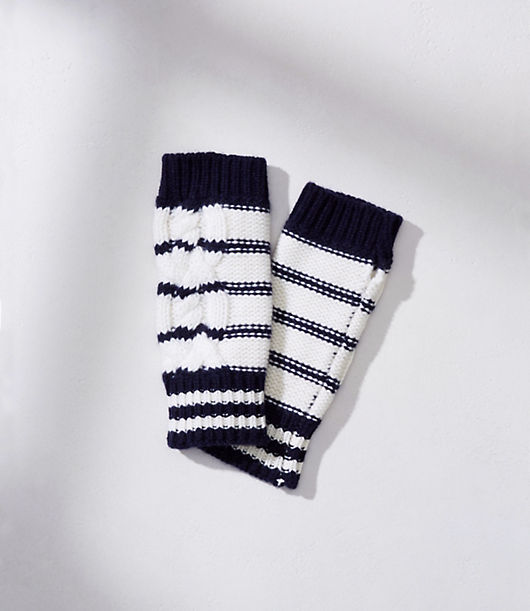 Vintage Style Gloves- Long, Wrist, Evening, Day, Leather, Lace LOFT Lou  Grey Striped Cable Fingerless Gloves $34.99 AT vintagedancer.com