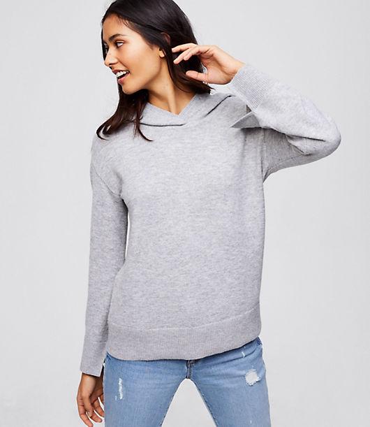 LOFT Hooded Flare Sleeve Sweater