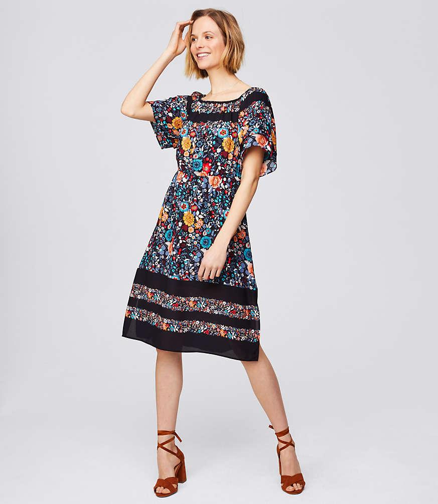 Flowerbed Flare Dress | LOFT