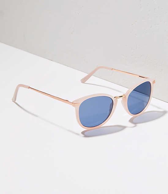 Metallic Arm Round Sunglasses