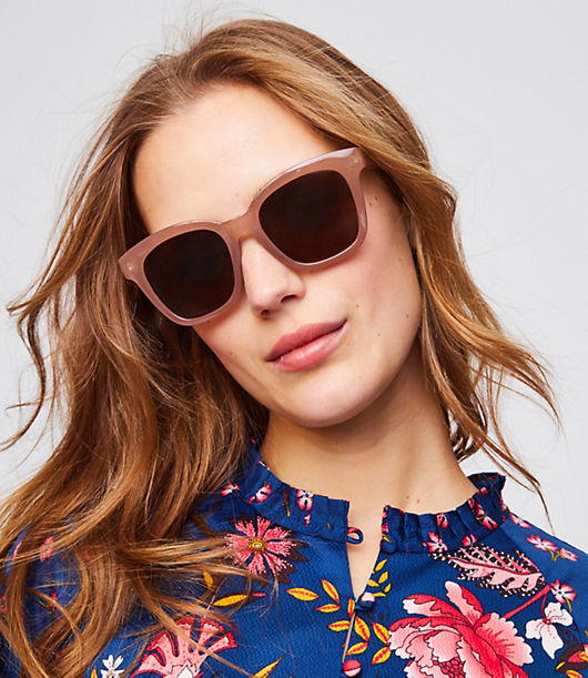LOFT Iridescent Chunky Square Sunglasses