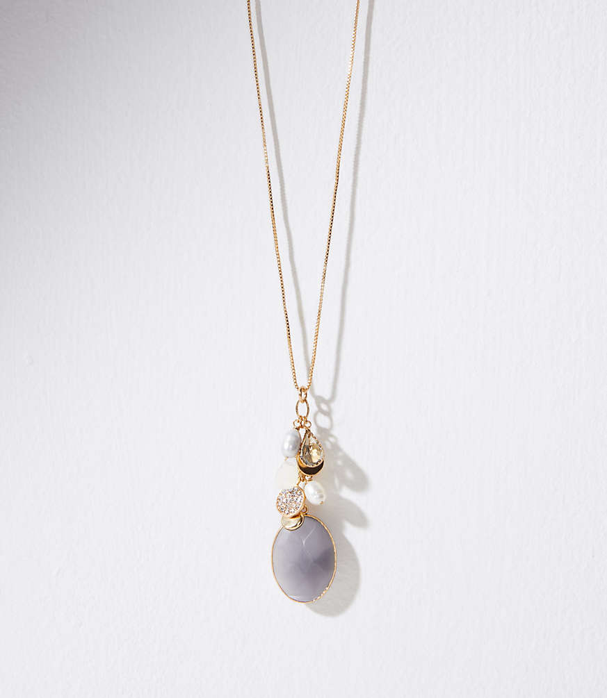 Mixed stone cluster pendant necklace loft aloadofball Image collections