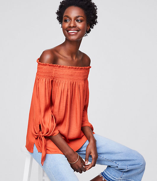LOFT Tie Cuff Off The Shoulder Top
