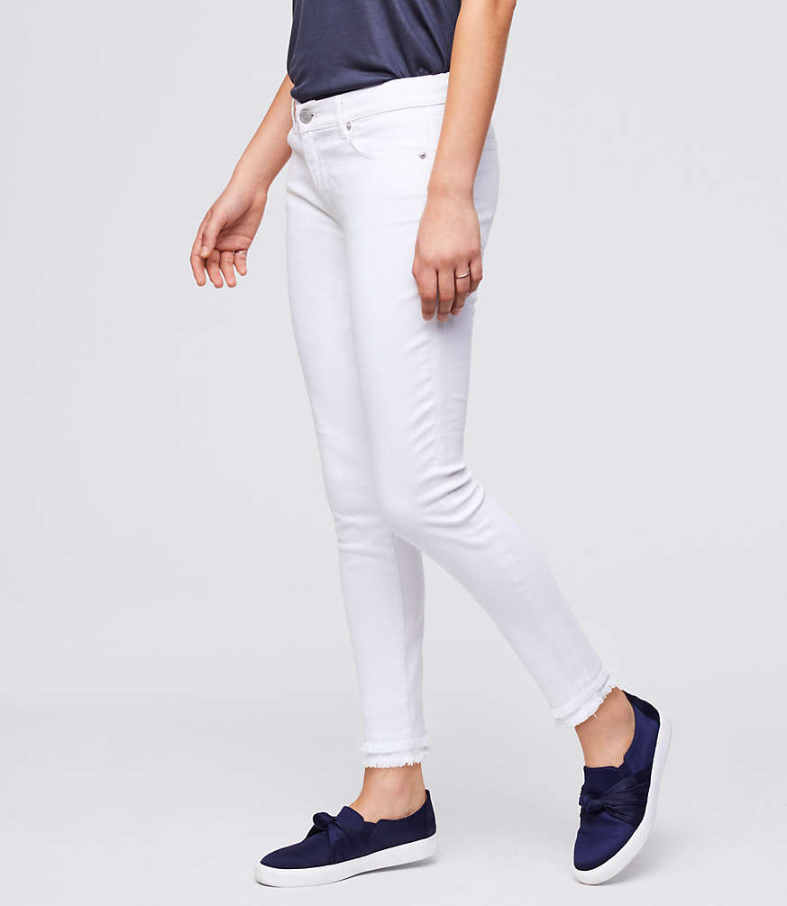 5eac57133a78 Shoptagr | Curvy Double Frayed Skinny Ankle Jeans In White by Loft