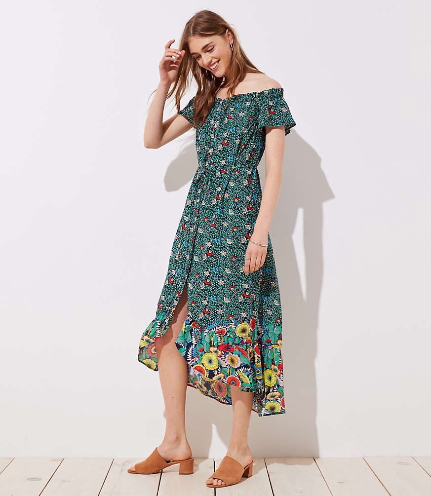 5a885f0b27 Shoptagr   Loft Beach Garden Off The Shoulder Shirtdress by Loft