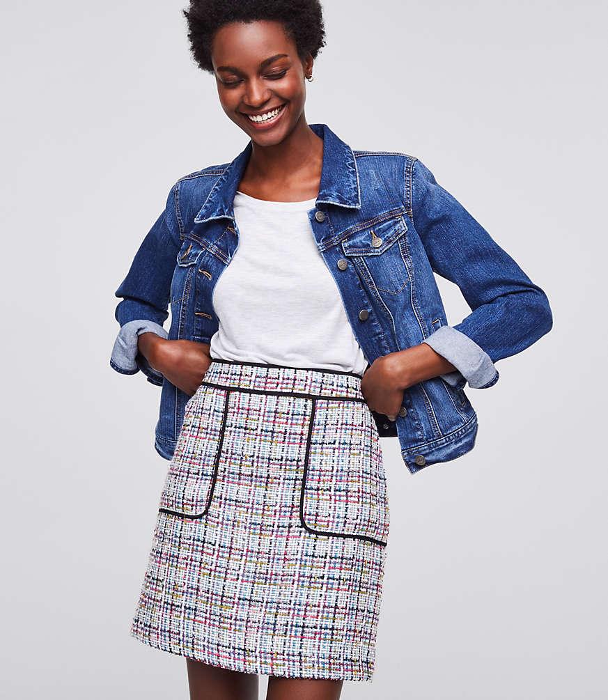Petite Tweed Pocket Shift Skirt