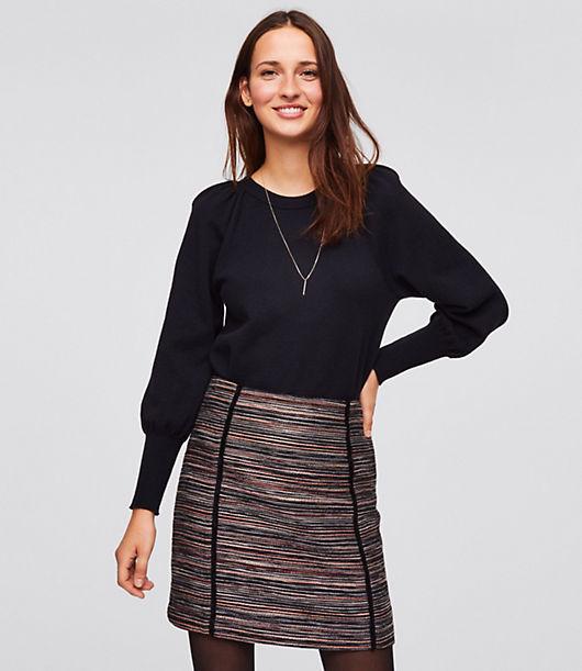 LOFT Petite Striped Tweed Shift Skirt