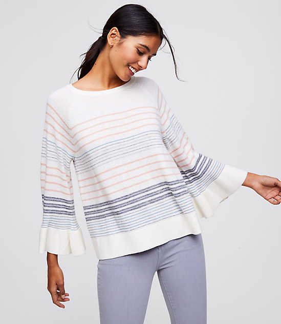 Petite Mixed Stripe Bell Sleeve Sweater