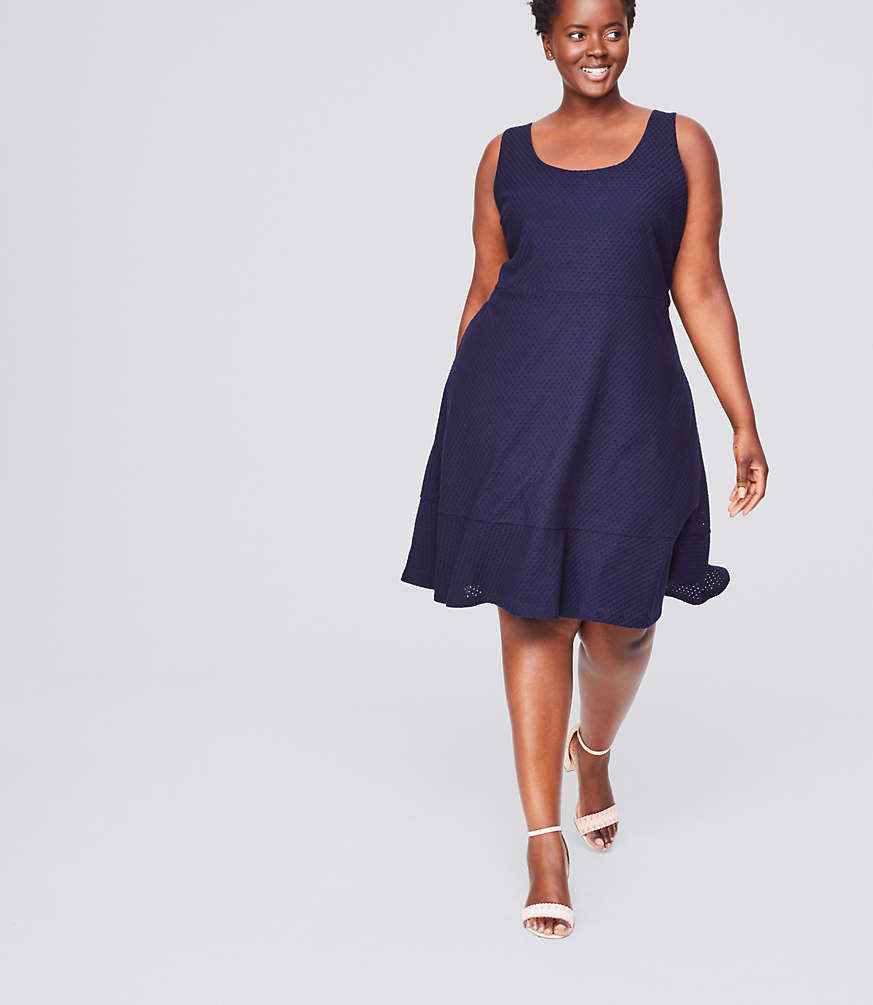 LOFT Plus Eyelet Flounce Dress | LOFT
