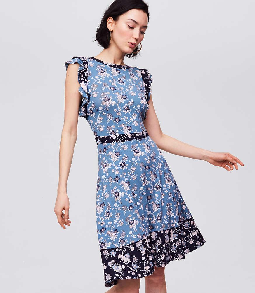 Mixed Print Flutter Dress | LOFT