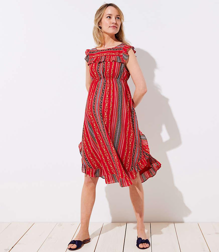 Maternity Sirena Ruffle Dress | LOFT