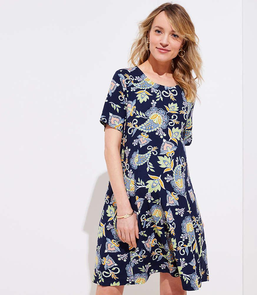 Petite Maternity Floral Paisley Short Sleeve Swing Dress