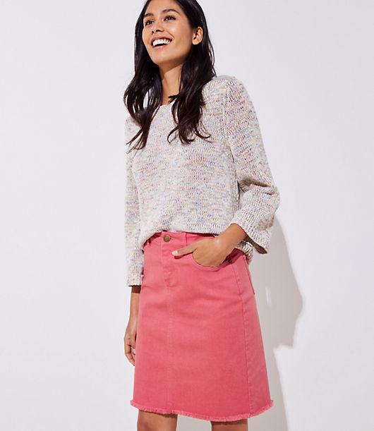 Image of LOFT Outlet Frayed Denim Skirt