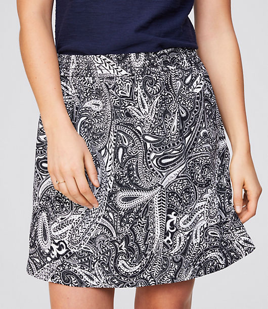 Image of LOFT Outlet Shadow Paisley Fluid Pull On Skirt