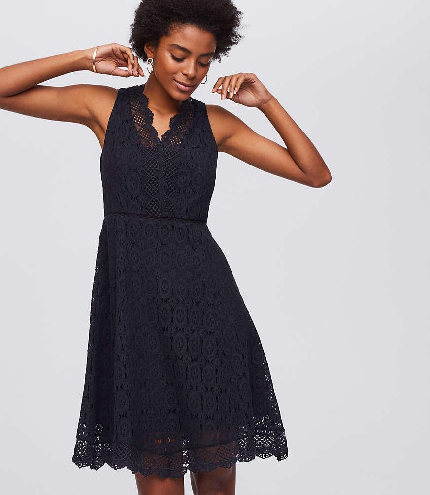 Lace Flare Dress | LOFT