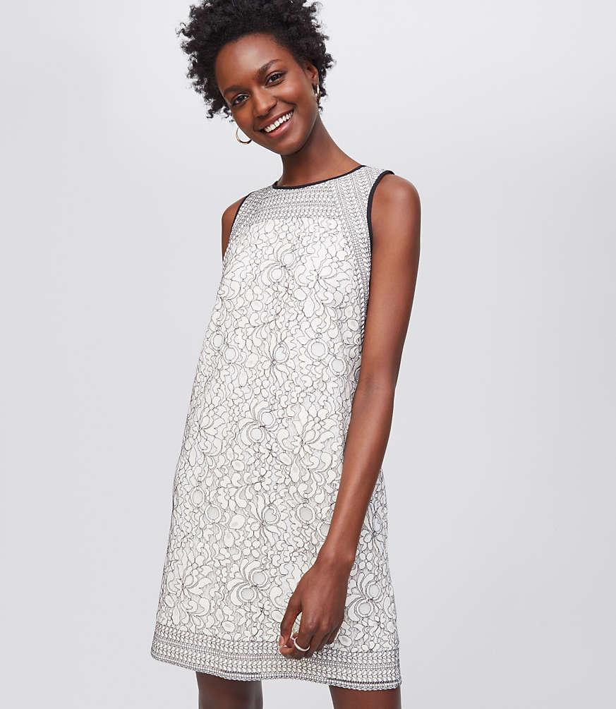 Shadow Floral Lace Dress | LOFT