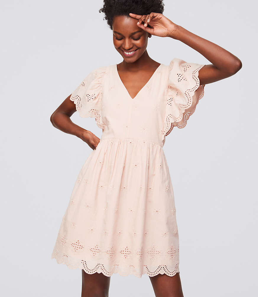 Eyelet Flutter Dress | LOFT
