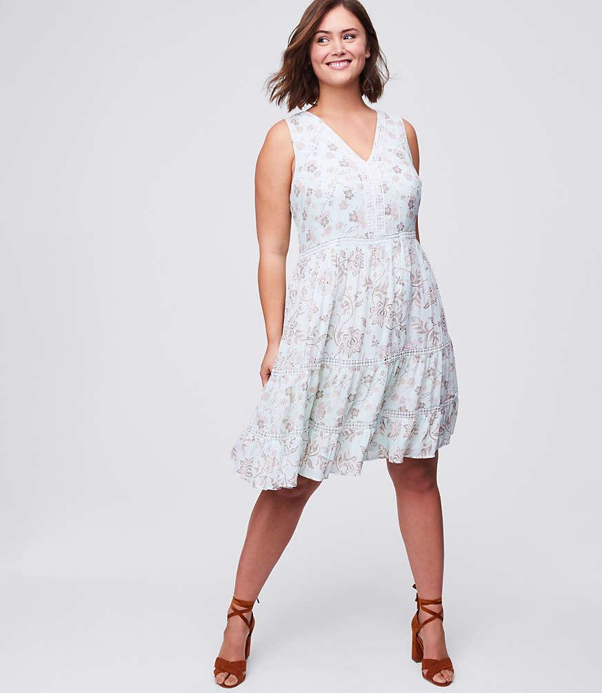 LOFT Plus Lacy Floral Flare Dress | LOFT