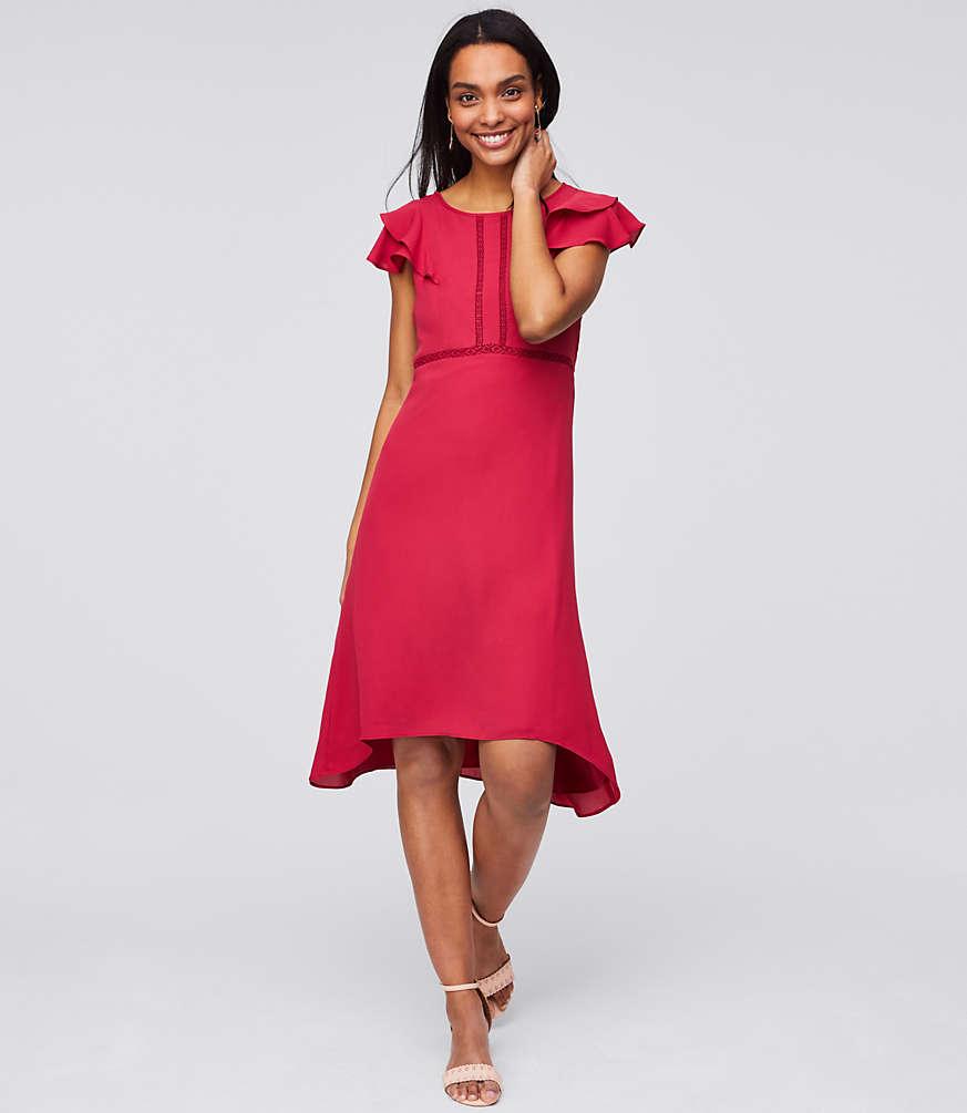 Petite Lace Trim Flutter Dress