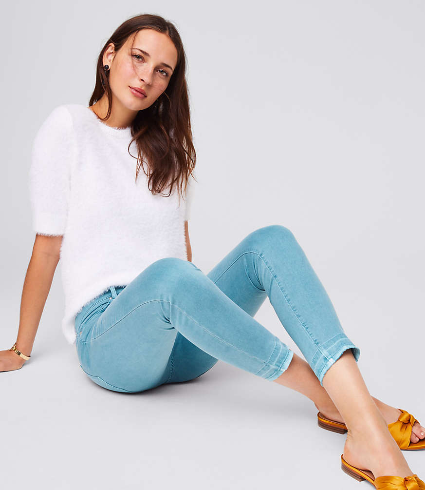 Petite Modern Unpicked Skinny Crop Jeans in Mineral Blue