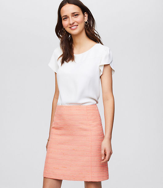 LOFT Petite Striped Tweed Skirt