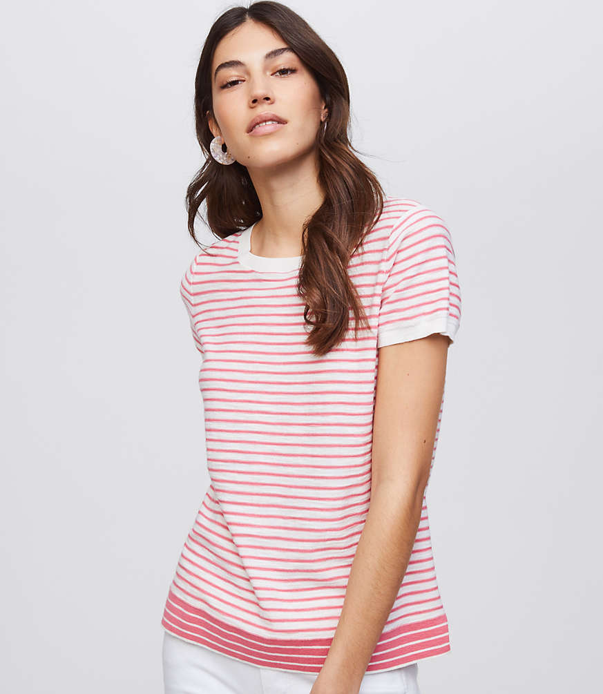 Petite Mixed Stripe Textural Sweater Tee