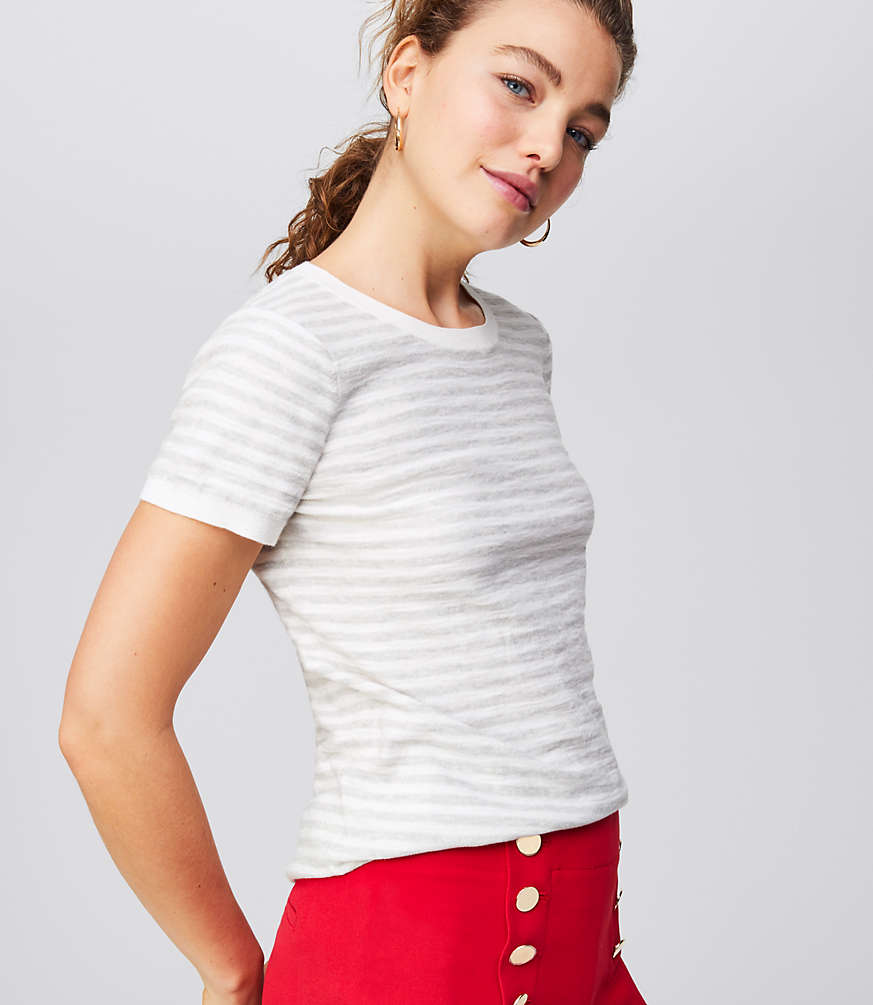Petite Striped Textural Sweater Tee