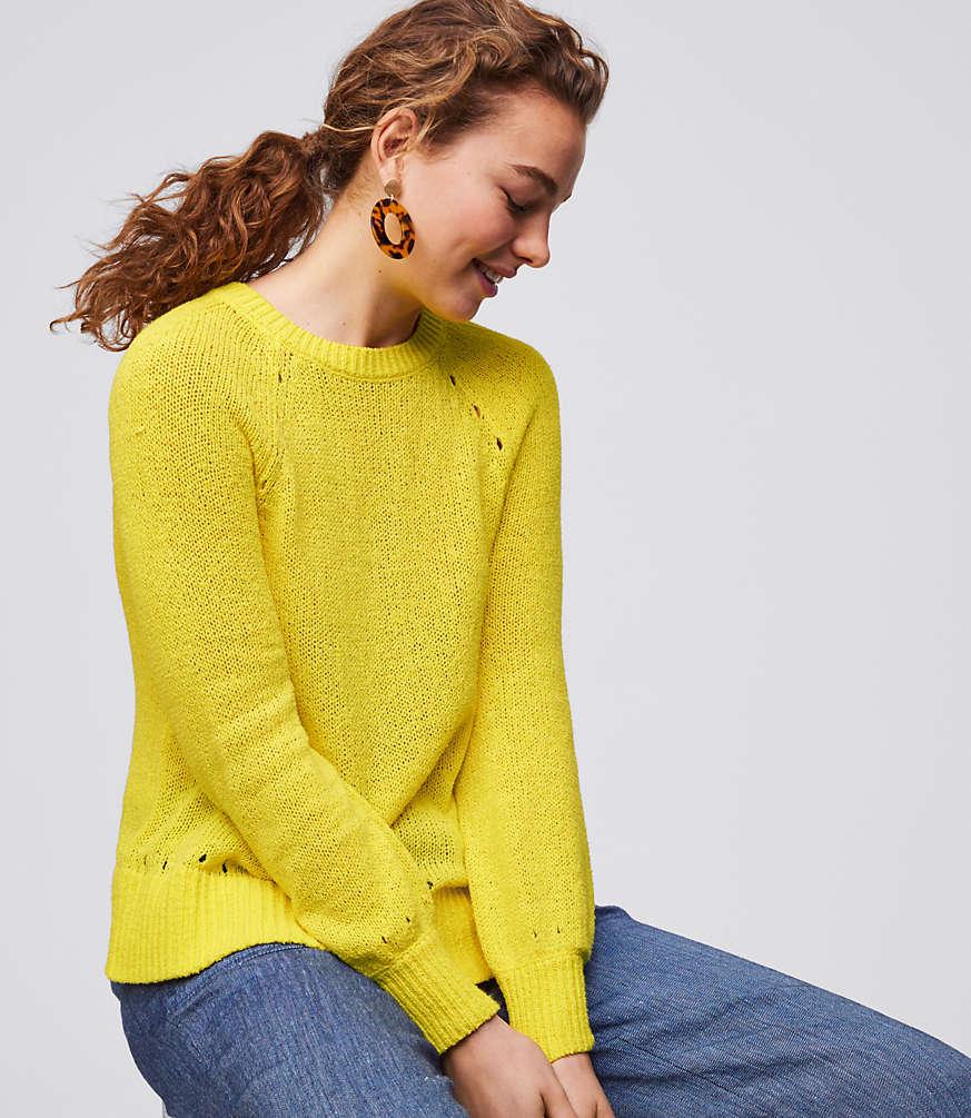 Petite Pointelle Blouson Sleeve Sweater