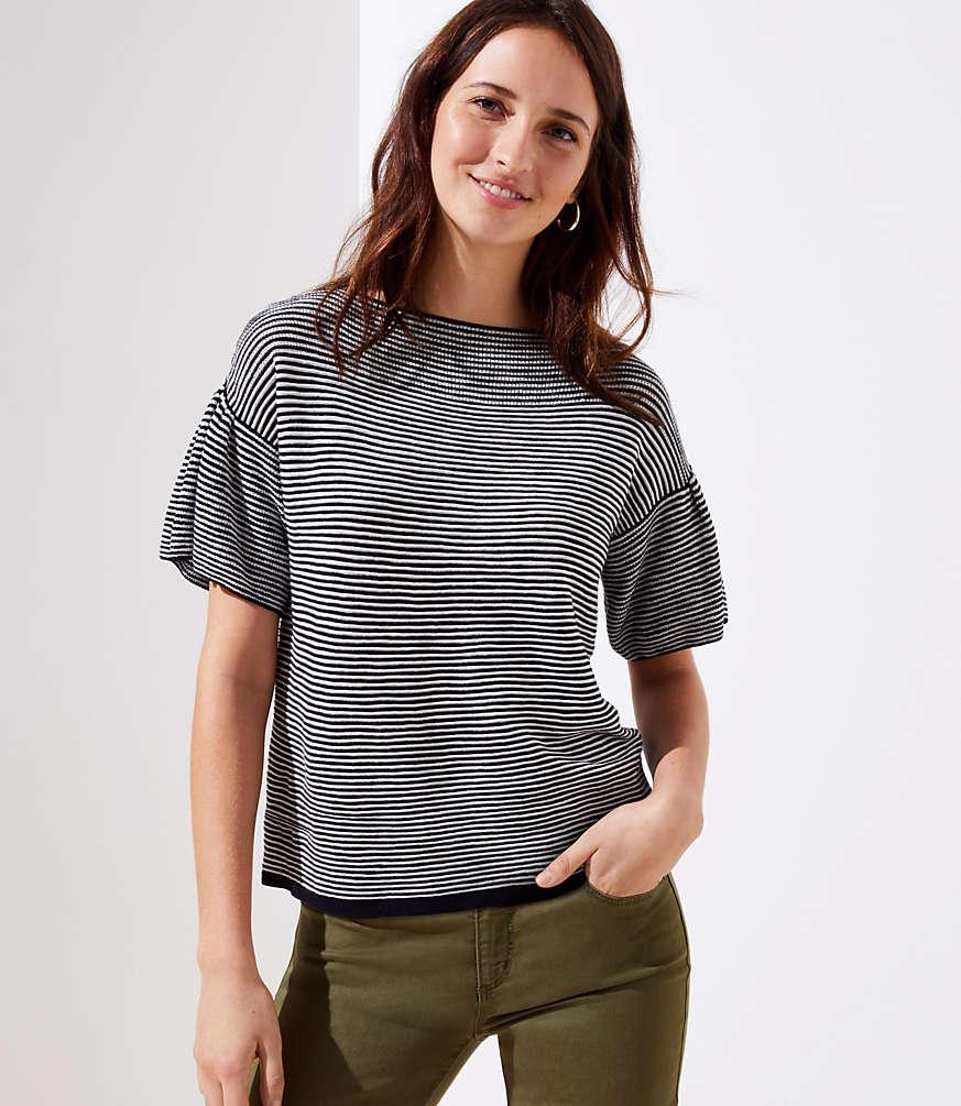 Petite Striped Flutter Sleeve Boatneck Sweater