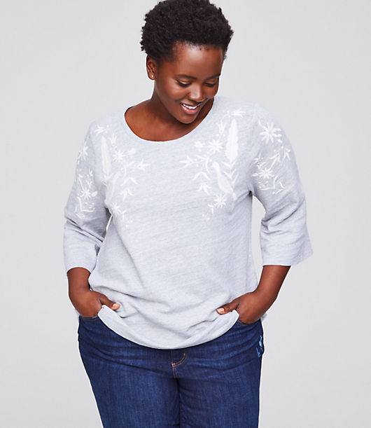 LOFT Plus Peacock Embroidered Sweatshirt