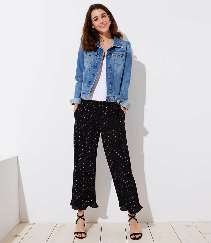 Polka Dot Ruffle Wide Leg Crop Pants by Loft