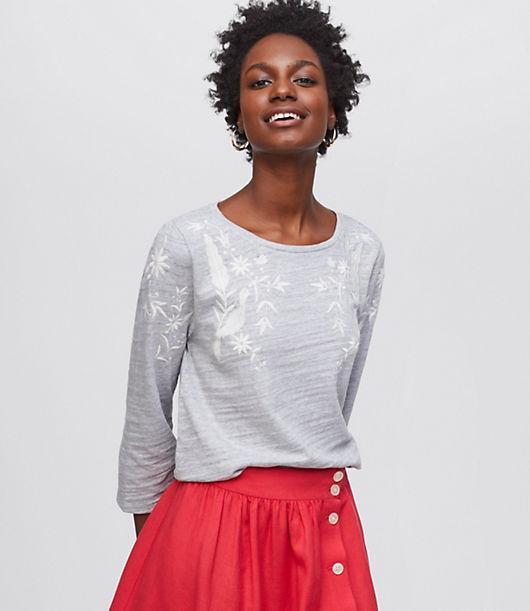 LOFT Petite Peacock Embroidered Sweatshirt