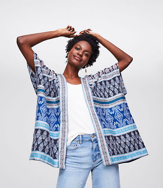 Image of LOFT Outlet Mixed Mosaic Kimono Jacket