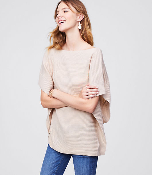 Image of LOFT Outlet Ribbed Poncho Sweater