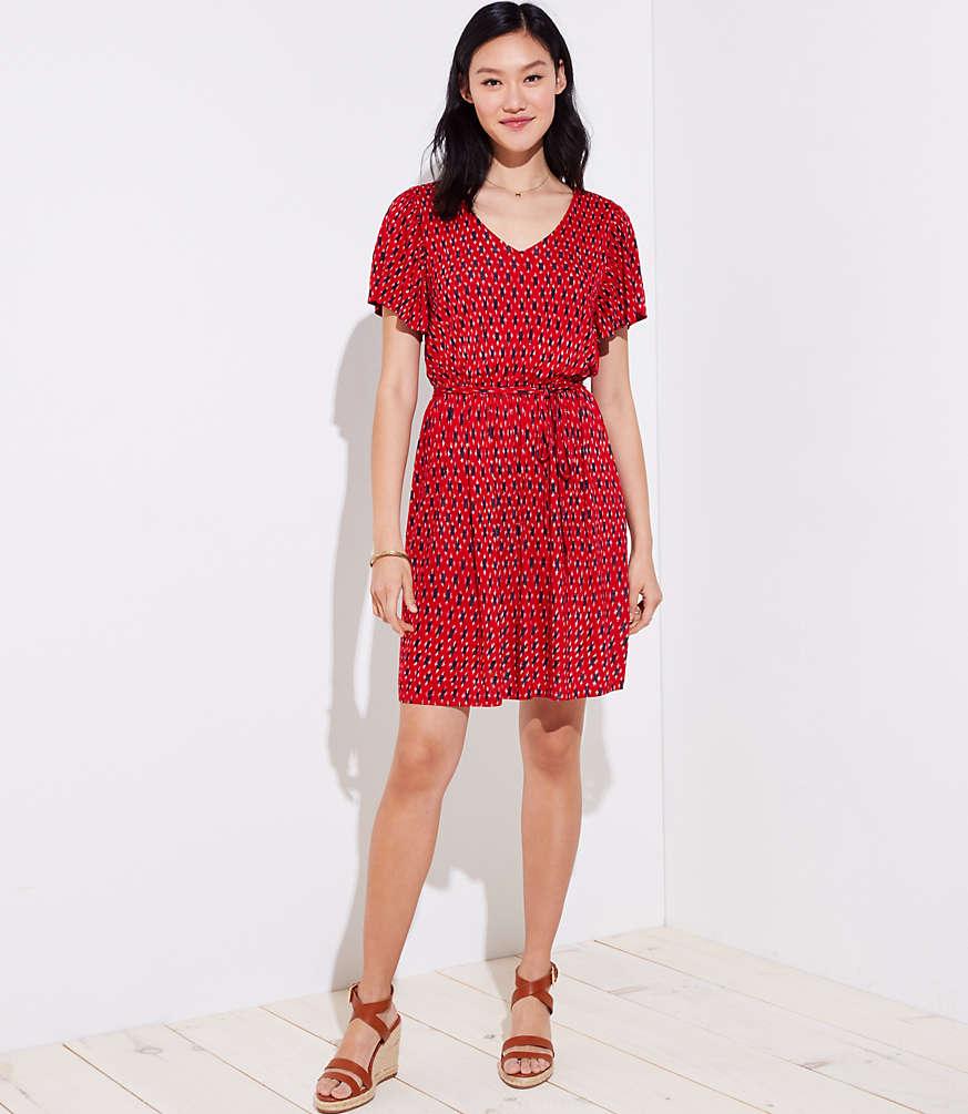 Ikat Tie Waist Flare Dress | LOFT