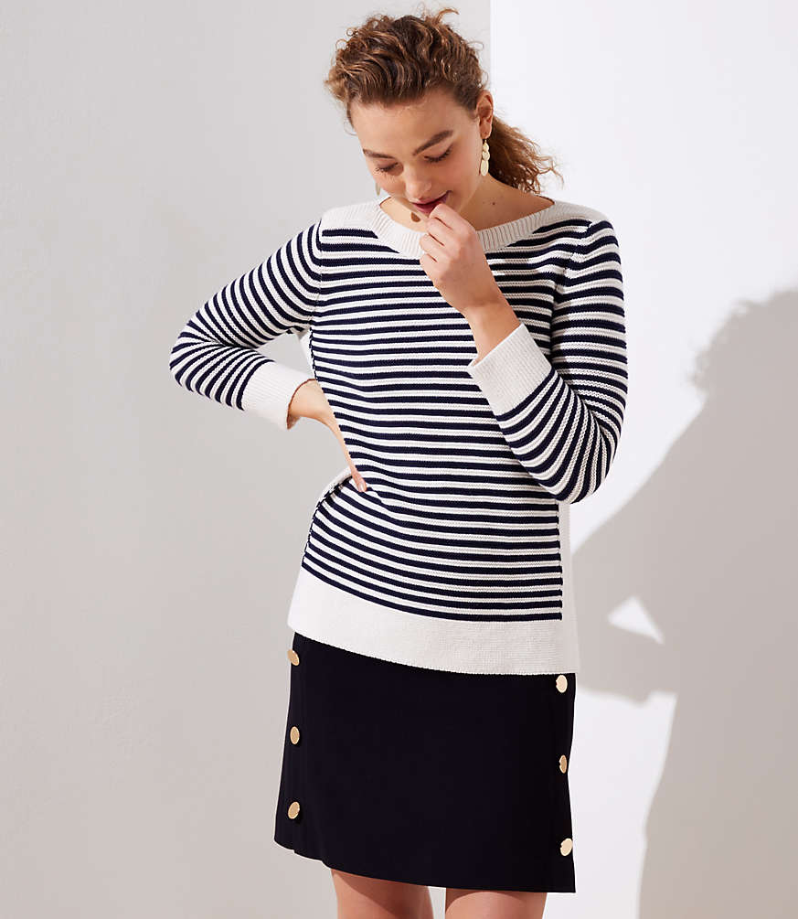 Striped Stitchy Boatneck Sweater by Loft