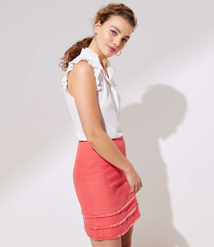 Petite Tiered Fringe Shift Skirt
