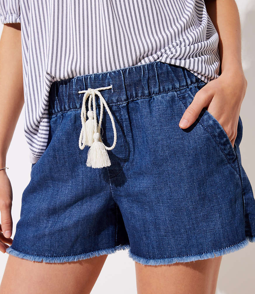 Cotton Linen Denim Drawstring Shorts In Authentic Dark Wash by Loft