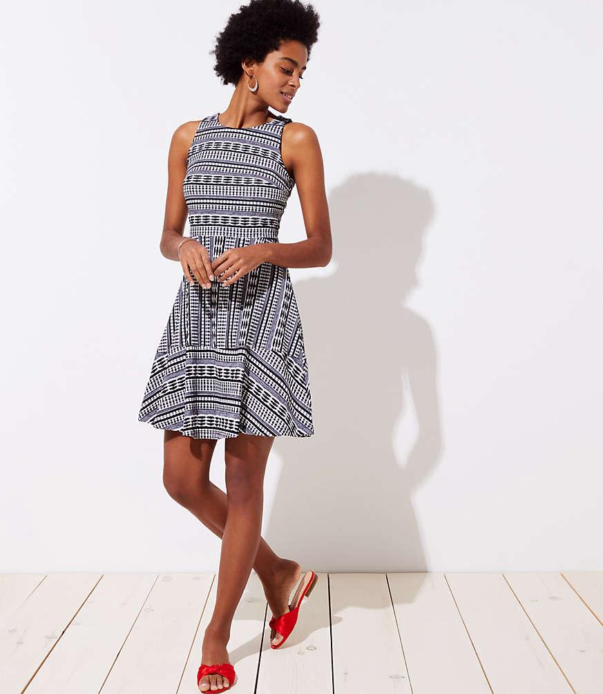 Petite Geo Textured Flare Dress
