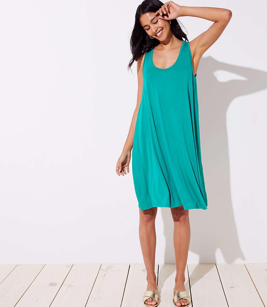 Petite Mixed Media Sleeveless Swing Dress
