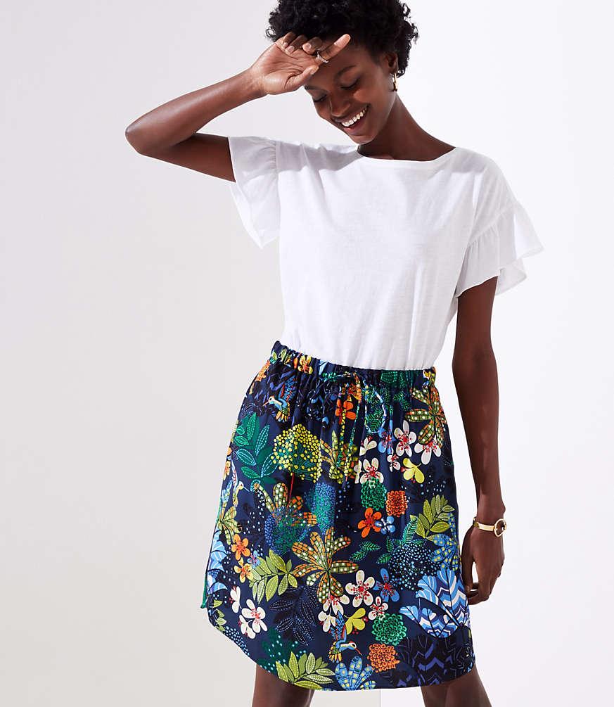 Petite Tropicalia Tie Waist Pocket Skirt