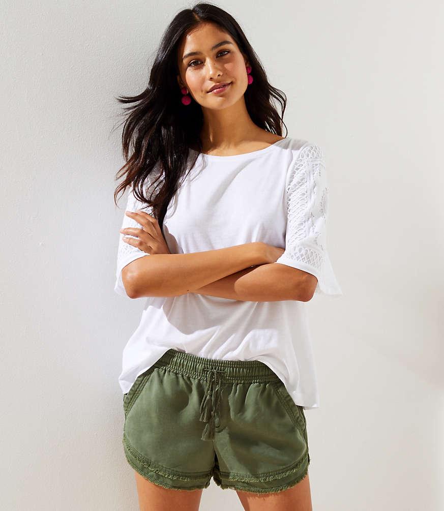 0b3255028beef6 Shoptagr   Frayed Drawstring Shorts by Loft