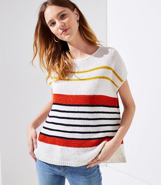 LOFT Striped Dolman Swing Sweater