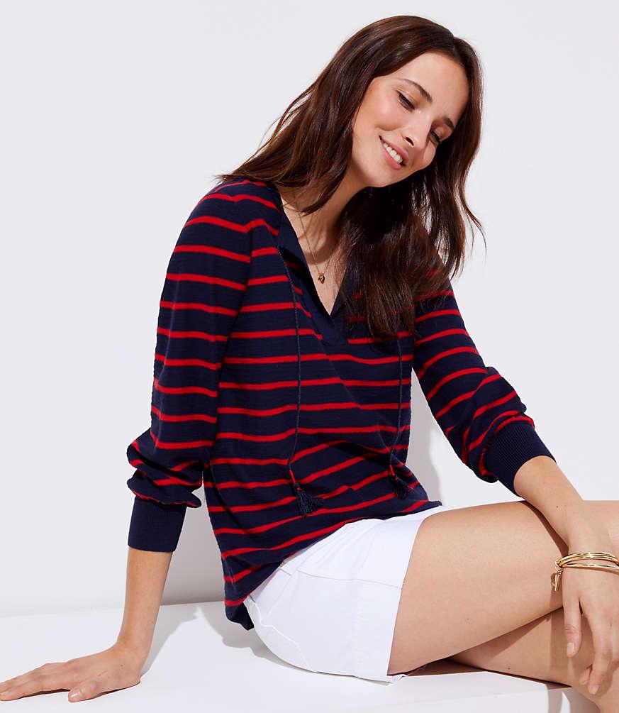 Petite Striped Tie Neck Tunic Sweater
