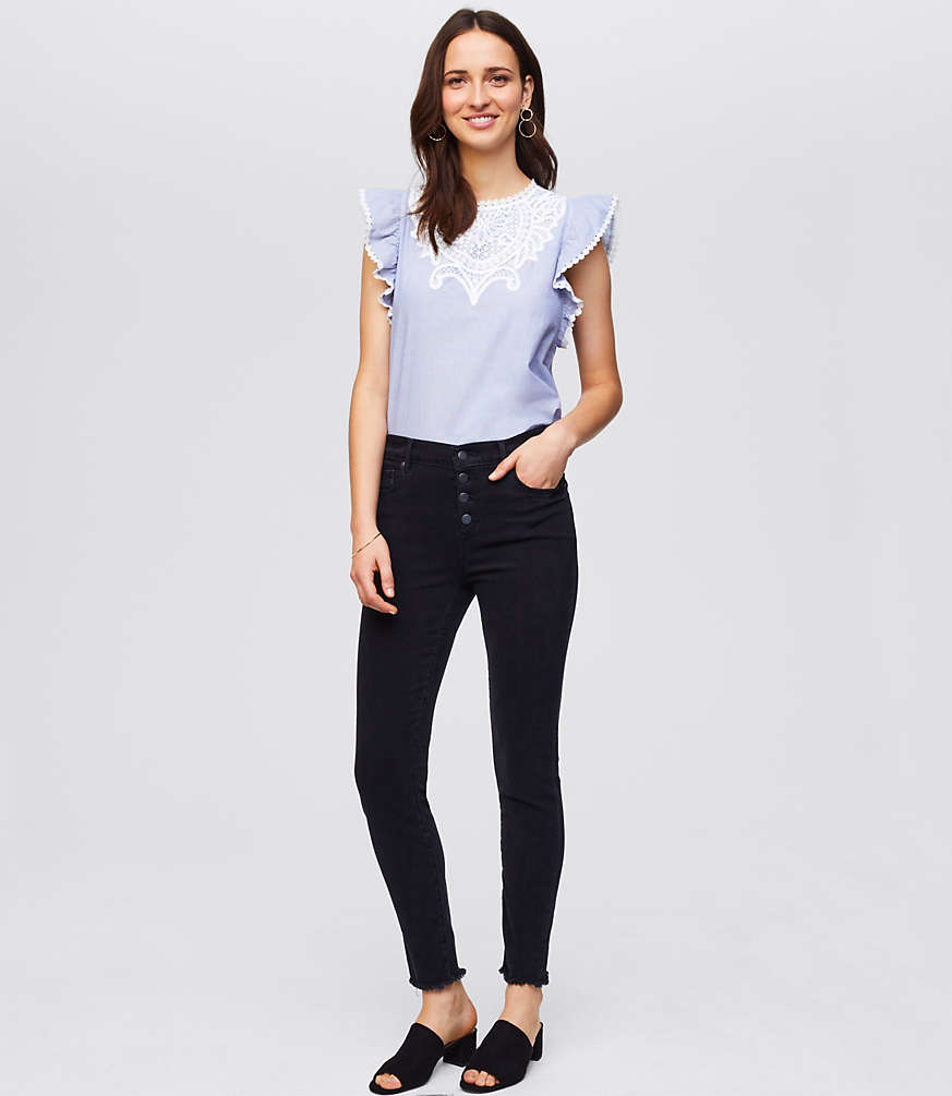 61f9d40f8e1 Petite Modern Button Fly Softest Skinny Jeans in Black by LOFT