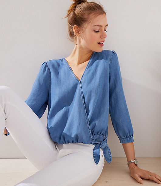 LOFT Chambray Wrap Blouse