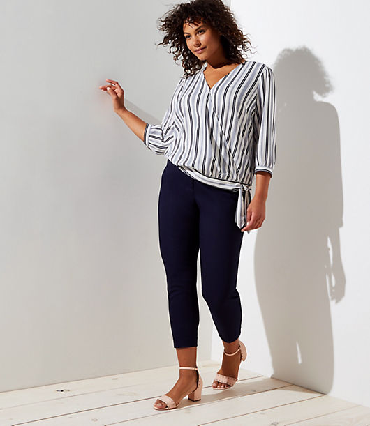 LOFT Plus Striped Wrap Blouse