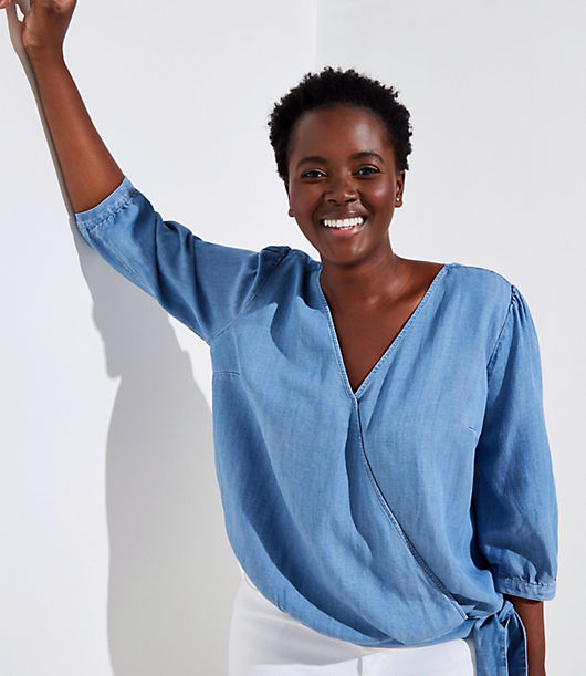 LOFT Plus Chambray Wrap Blouse